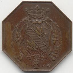 Jeton, Brussel, 1874   Veyrat, Adrien Hippolyte. Artiest