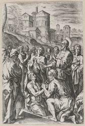 The Raising of Lazarus graphic | Van den Broeck, Crispijn (1523-1590, Flemish painter and draughtsman). Dessinateur-maquettiste