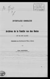 Inventaire sommaire des archives de la famille van den Hecke et de ses alliés déposées aux Archives de l'Etat, à Gand par Robert Schoorman | Schoorman, Robert. Auteur