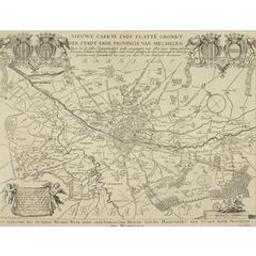 Nieuwe caerte ende platte[n] grondt der stadt ende provincie van Mechelen waer in de selve figurativelijck wordt aengewesen met allen haere dorpen gehuchten rivieren, straeten, casteelen, huijsen, ende andre plaetsen die daer gelegen oft te vinden sijn, gemeten ende gemaeckt in het jaer 1730 door P. van Antwerpen landtmeter Cartografisch document P. van Antwerpen ; P.B. Bouttats sculp. Antv | Bouttats, Pierre-Balthazar (fl. <1700>-1756) - graveur. Graveur