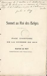 Sonnet au Roi des Belges page d'histoire de la guerre de 1914 par Gaston de Roy | Roy, Gaston de