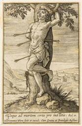 St Sebastian graphic | Wierix, Hieronymus (Anvers, 1553 - 1619). Éditeur intellectuel
