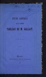 Etude critique sur le dernier tableau de M. Gallait salon de 1851 [par L. Hymans] | Hymans, Louis Salomon (1829-1884). Auteur