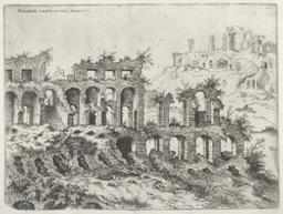 View of the Colosseum with the Palatin in the Background | Cock, Hieronymus (fl. 1548-1570). Boekontwerper