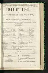 1841 et 1941 ou aujourd'hui et dans cent ans revue fantastique en deux actes, à grand spectacle par MM. Cogniard frères et Théodore Muret   Cogniard, Hippolyte (1807-1882). Auteur