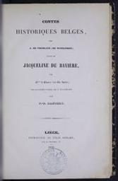 Contes historiques belges par A. de Tromlitz de Witzleben ; par Mme de Glumer (née Ch. Spohr) ; traduction libre de l'allemand par P.-D. Dandely | Witzleben, Karl August Friedrich von (1773-1839) - Tromlitz, A. Auteur