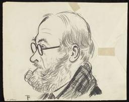 Portrait de W. Van Eeghem, de profil, avec une écharpe écossaise | Timmermans, Felix (1886-1947). Illustrateur