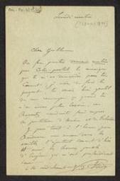 [Carte postale autographe signée de Vincent d'Indy à Guillaume Guidé] | Indy, Vincent d' (1851-1931)
