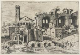 The Temple of Augustus and Faustina, the Temple of Divus Romulus and the Basilica of Constantine | Cock, Hieronymus (fl. 1548-1570). Boekontwerper