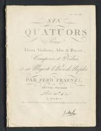 Six quatuors Musique imprimée = Gedrukte muziek pour Deux Violons, Alto & Basse composés par Ferdinand Fraenzl | Fraenzl, Ferdinand