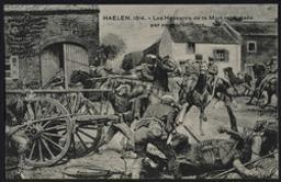 Haelen. 1914. Les Hussards de la Mort repoussés par nos carabiniers. postcard |