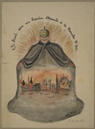 Je prend sous ma protection l'humanité et les merveilles d'arts (sic). Composition satirique se rapportant à la guerre 1914-1918. (Portrait-charge de Guillaume II, empereur d'Allemagne) | Aubert, Victor. Artiste