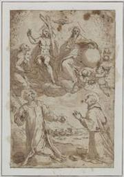 The Holy Trinity with St Stephen and St Charles Borromeo Graphic | Palma il Giovane, Jacopo (1544-1628). Illustrateur