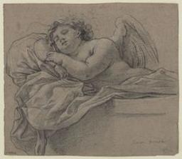 Sleeping angel; verso: study of a female figure Graphic | Dorigny, Michel (1616/17-1665). Illustrateur