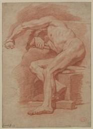Academy study of a male nude Graphic   Jouvenet, Jean-Baptiste (Rouen, 1644 - Paris, 1717) - peintre d'histoire et de portraits ; fils de Laurent Jouvenet le jeune. Illustrateur