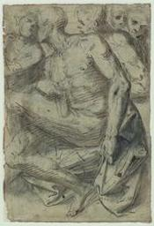 Nude men; verso: figure studies Graphic | Luini, Aurelio (ca. 1530-1593). Illustrateur