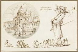 View of the church of Santa Maria della Salute in Venice and caricature figures Graphic | Unknown Italian. Illustrateur