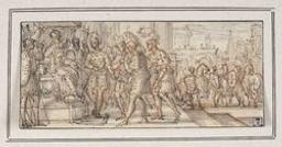 Soldiers before an enthroned king Graphic | Le Clerc, Sébastien (1637-1714). Illustrateur