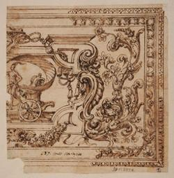 Fragment of a design for a ceiling decoration Graphic | Grimaldi, Giovanni Francesco (1606-1680). Illustrateur