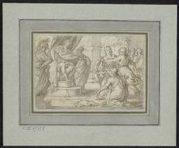 King Aemulius condemning Romulus and Remus to death (?) Graphic | Unknown German. Illustrateur